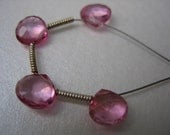 Beautiful genuine AAA Pink Topaz faceted Heart Briolettes x4