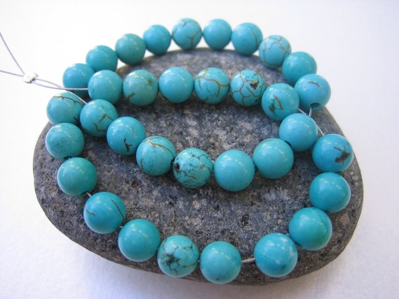 Strand smooth polished turquoise round beads - 6mm