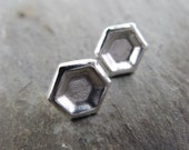 Honey Posts/Silver - Hexagon Silver Honeycomb Cell Post Earrings