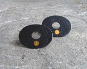 Black Gold Dot Posts - Black Oval Mod Post Earrings with Simple Gold Dots
