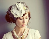 The Liesel- Cream, grey and white hair flower hat