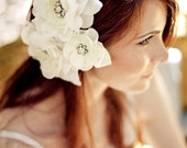 Trio of white cream vintage jewelry flowers