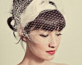 Feather headband with birdcage veil overlay- style 114 READY TO SHIP