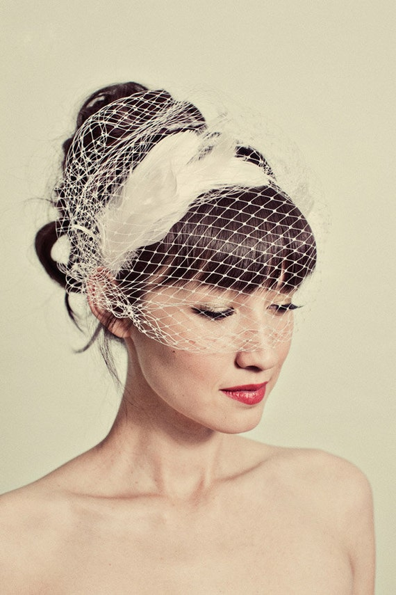 Feather headband with birdcage veil overlay- style 114