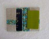 linen passport cover...aqua flowers