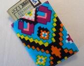 mini wallet business card case...vintage fluorescent geometric fabric, tetris style
