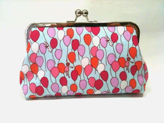 Up up and Away -   8 inch metal frame clutch purse