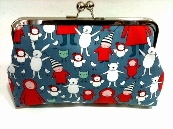 Meet the gang -   8 inch metal frame clutch purse
