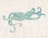 "Mehndi style Octopus Print from my Original Illustration - 8""x10"", 5""x7"", 9""x12"" or 11""x14"" Wall Art- Archival Print"