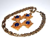 Beautiful Blue and Gold Sarah Coventry Necklace