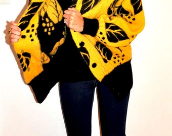 R A D 1980s Bright Yellow and Black Sweater Coat