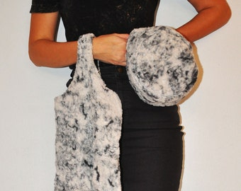 Gorgeous Vintage 1960s Grey and White Faux Fur Hand Bag Purse and Hat Set