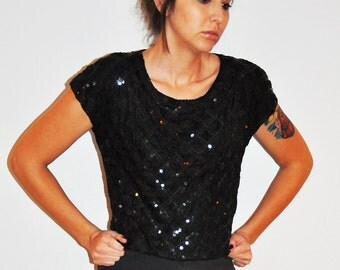 1980s Black Sequins Belly High Rise Shirt Top