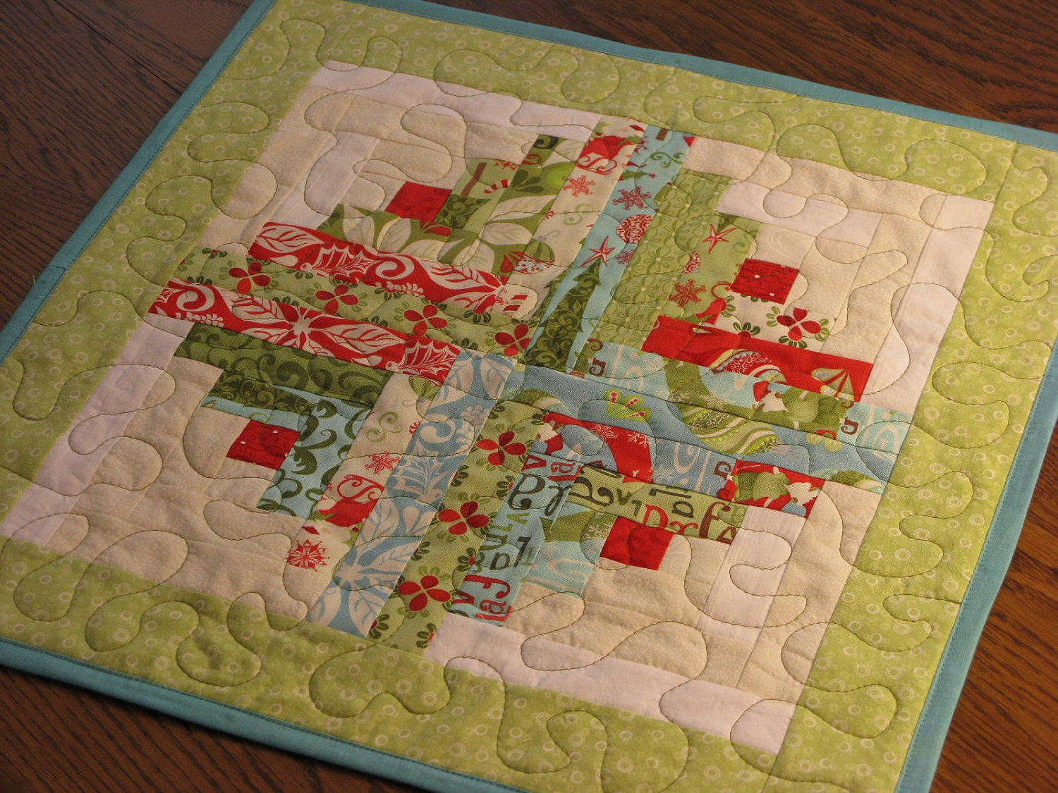 Quilted table topper quilt centerpiece by dollpatchworks