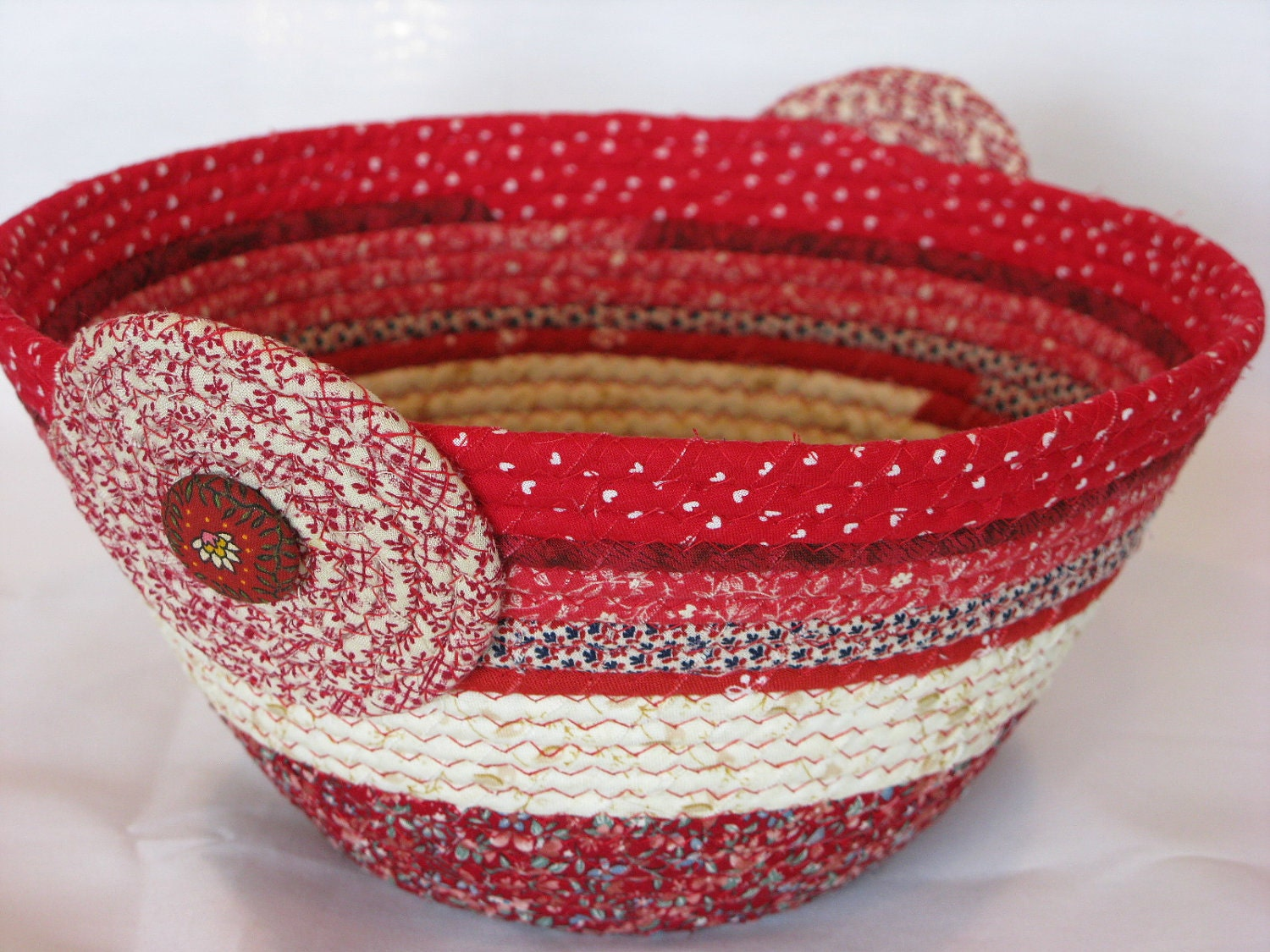 Coiled Fabric Basket Bowl Container Clutter Keeper