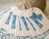 Set of 10 Personalized GIFT tags with CUSTOM Hand-Painted Graphic on Creamy Thick Handmade Paper