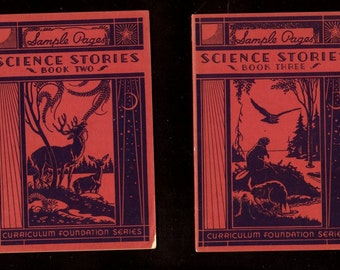 1935 rare Set of Science Stories Books Two and Three - Sample Pages - Scott Foresman promotional booklets - early Dick and Jane company