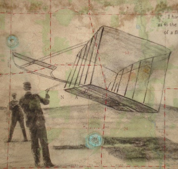 Wright Brothers Art - Topo Map - Original Watercolor Charcoal Drawing with Patina and Coffee Stain on Map