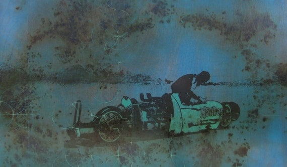 SALE 20% OFF- Mixed media print - Storm Motorcycle Blue Painting - Norton Motorcyce Painting and Screen Print on Wood with Gunpowder Burns
