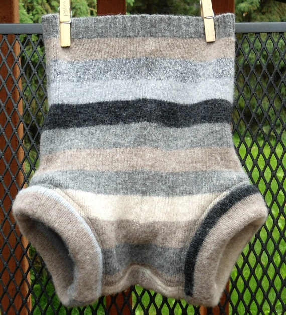 Upcycled Wool Diaper Cover, Soaker, large, earth tone stripes