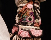 Gypsy Peace Cuff in Pink and Black with Ruffled Edge and Fringe