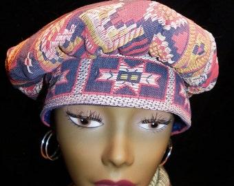 Hat Blue, Red, Mustard Tapestried Rembrandt Hat Cap Beret Hippie Boho Gypsy Cotton