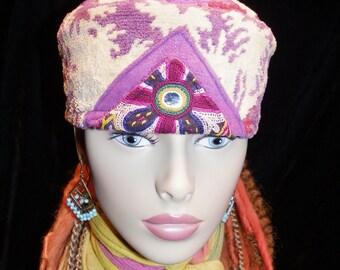 Hat Creamy Yellow & Purple Fuzzy Gypsy Hat