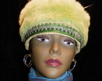 Hat Kiwi Green Fur Sequined Hat