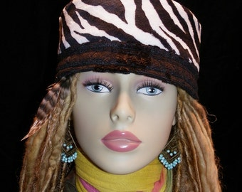 Hat Zebra Faux Fur and Black Brocade Hat