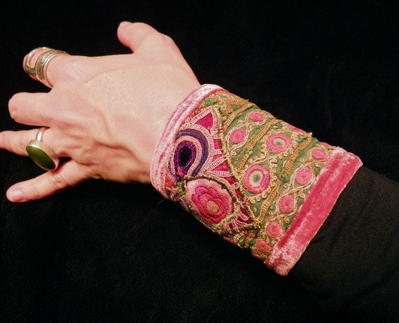 Gypsy Peace Cuff in Greens and Corals