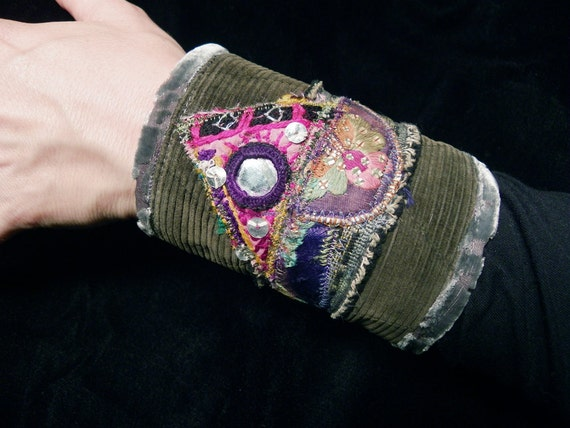 Cuff Gypsy Peace Cuff Olive Green Hmong Embroidery Indian Mirror Boho Hippie Gypsy Fabric Bracelet