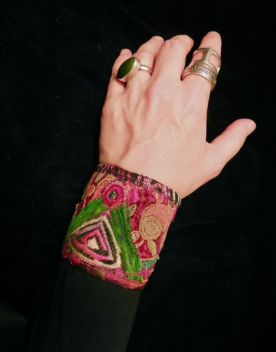 Gypsy Peace Cuff Rose Red Velvet with Hmong and Indian Embroidery