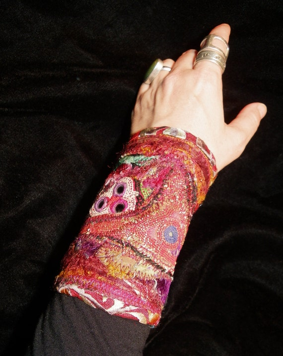 Gypsy Red Peace Cuff Antique Indian Embroidery and Mirror Work