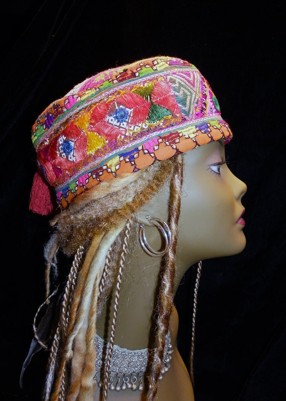 Hat Orange Pink Hmong & Indian Gypsy World Peace Hat