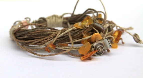 Amber shell Natural Hemp Macrame wrap multi strand Bracelet, natural