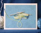 Birthday Yarn, a real knitted swatch on a hand crafted greeting card