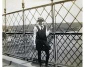 1920's Black and White Photo - Schoolgirl in Uniform on Menai Bridge, Anglesey, Wales