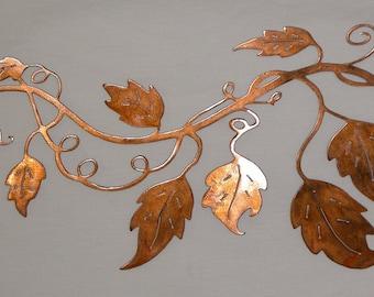 Metal wall art , Vine with leaf design