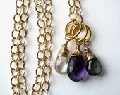 Moss Aquamarine, Purple Amethyst and Scapolite Necklace