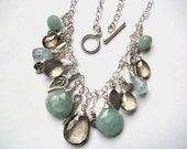 Aquamarine and Mystic Smokey  Khaki Quartz Charm Necklace in Sterling Silver