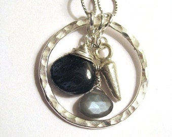 Royal Moss Kyanite and Gray Moonstone Sterling Silver Necklace