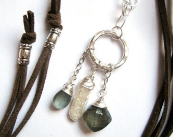 Micro Suede Leather Necklace wth Moss Aquamarine Briolettes and Biwa Pearl