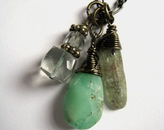 Trio of Greens Necklace with Chrysoprase, Green Amethyst and Kyanite