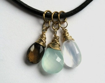 Leather Necklace with Seafoam Chalcedony, Whiskey Quartz and Ice Quartz in Gold