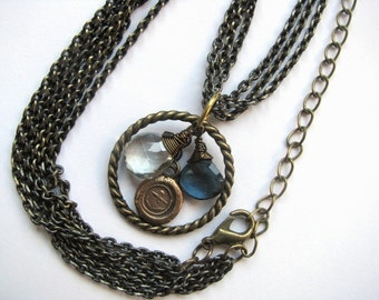 Multistrand Pendant Necklace with London Blue Topaz, Silver Green Quartz and Bronze Charm