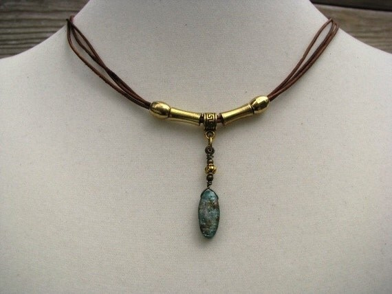 Leather Pendant  Multi Strand Necklace with Kyanite
