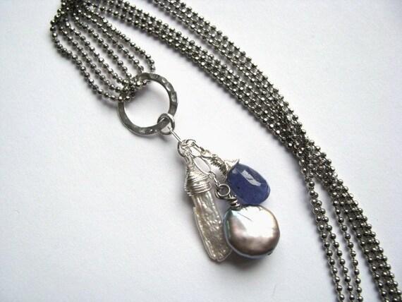 Tanzanite, Biwa Pearl and Gray Pearl Necklace