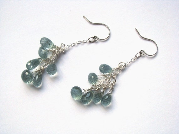Moss Aquamarine Earrings in Sterling Silver