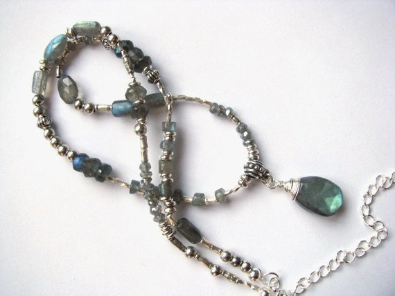 Labradorite Pendant Necklace in Sterling Silver