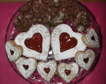 PERFECT COMBINATION Strawberry Filled Linzer Tarts and Chocolate Walnut Crincle Cookies